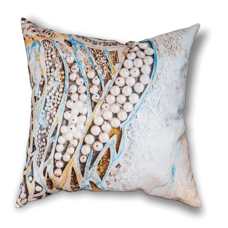 Sharon White Art Asymmetric Pearl Cushion in gold and blue
