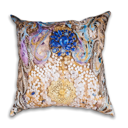 Medium Cushion in gold, blue and pearl