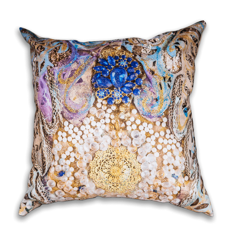 Medium Cushion in gold, blue and pearl, blue pillow cushion