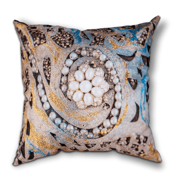 Sharon White Art Ascension Swirl Cushion with blue and gold and pearls