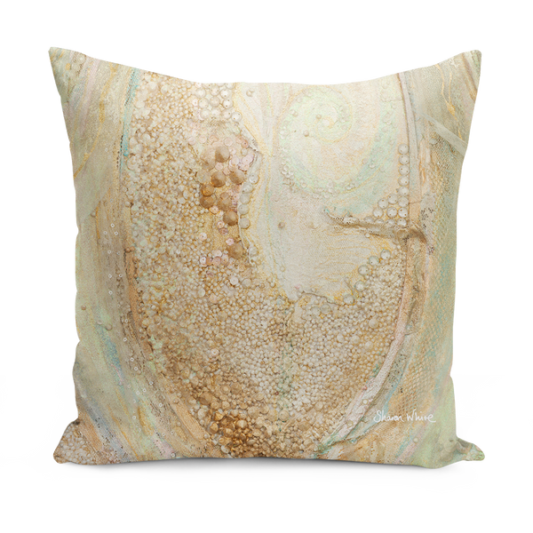sharon white art Trust Crystal gold Cushion gold large cushions
