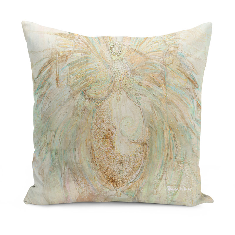 Trust Peal and Gold large cushion sharon white art
