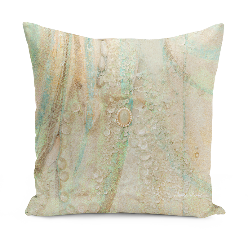 "Sharon white art Trust Solo Cushion pale pink 16"" small Gold pillow cushion sharon white art"