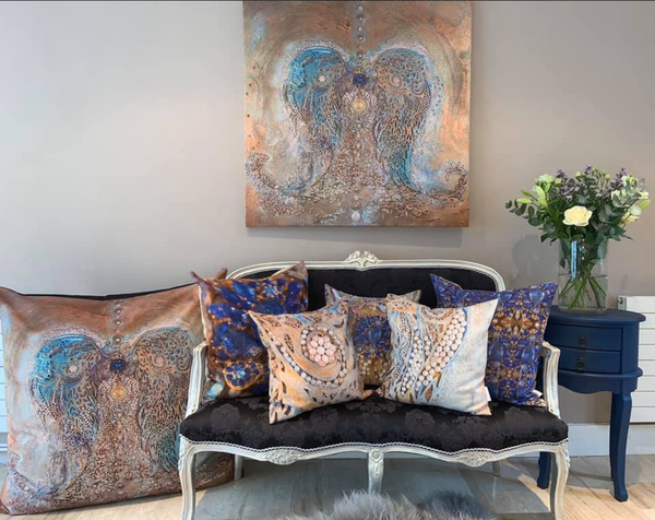 Blue and Gold Cushion pillow sharon white art