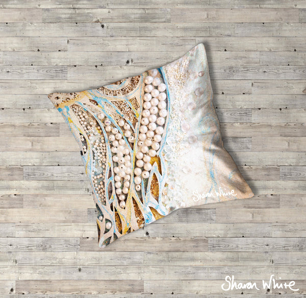 Sharon White Art Ascension Floor Cushions Asymmetric Pearl