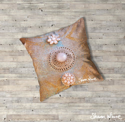 Sharon White Art Ascension Chakra Floor Cushion in gold, blue and pearl