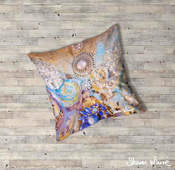 Sharon White Art Ascension Jewel Floor Cushion in gold, blue and pearl