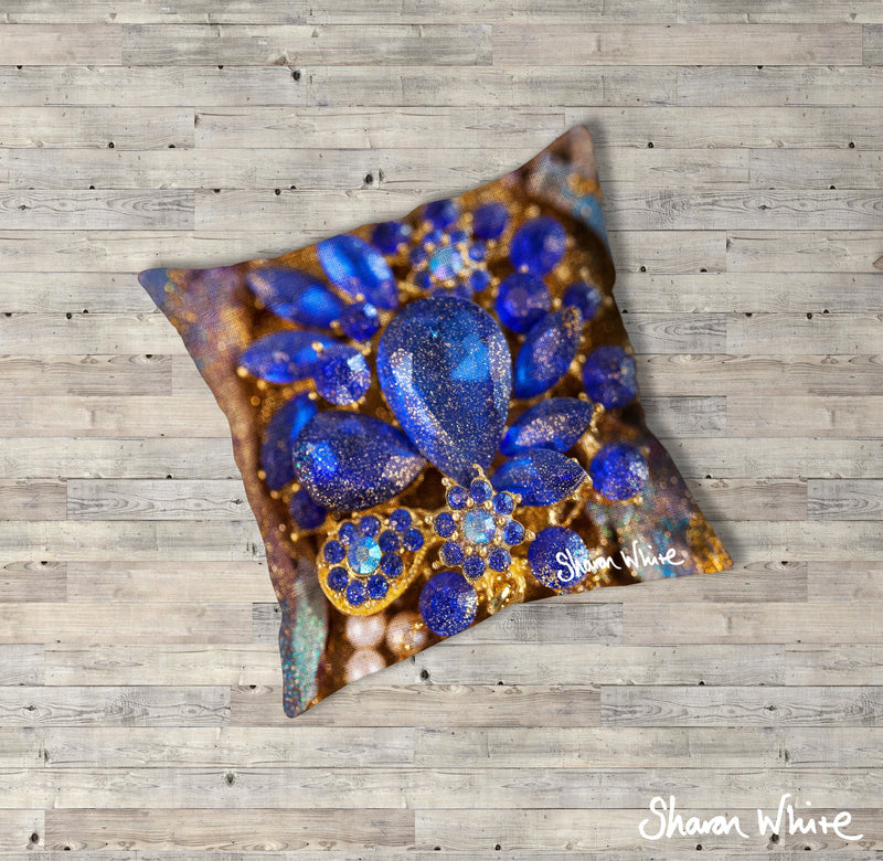 Sharon White Art Ascension Ocean Jewel Floor Cushion in gold, blue and pearl