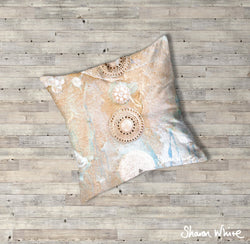 Sharon White Art Ascension Quiet Floor Cushion in gold and pearl