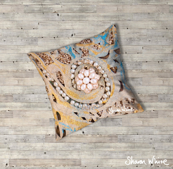 Sharon White Art Ascension Swirl Floor Cushion in gold, blue and pearl