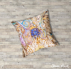 Sharon White Art Ascension Timeless Floor Cushion in gold, blue and pearl