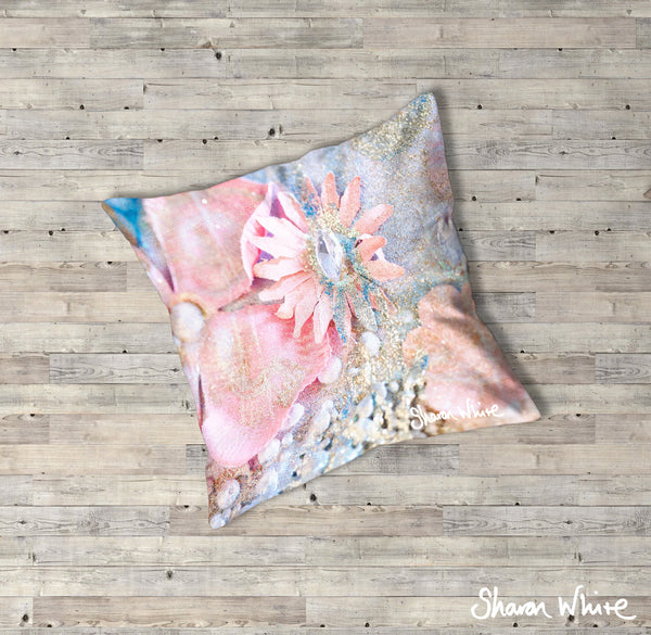 Sharon White Art Lightness of Being Floor Cushions Arabian Pink