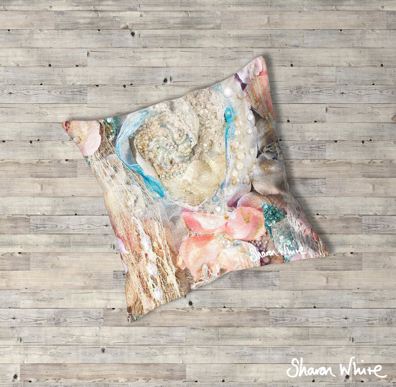 Sharon White Art Lightness of Being Floor Cushions Secret Bloom