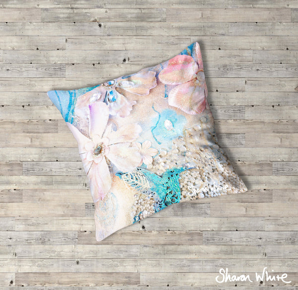 Sharon White Art Lightness of Being Floor Cushions Tranquil