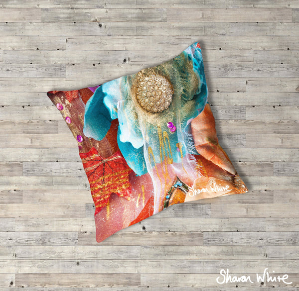 Sharon White Art Renewal Floor Cushions Amber Nectar