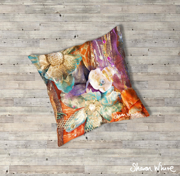 Sharon White Art Renewal Floor Cushions Bloom