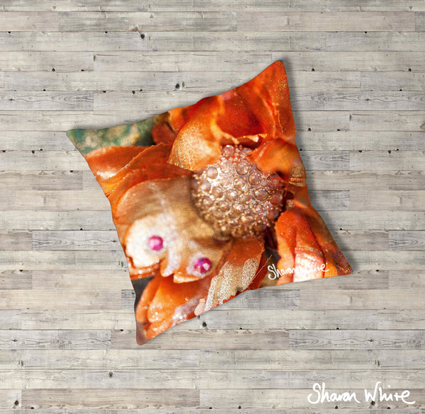 Sharon White Art Renewal Floor Cushions Orange
