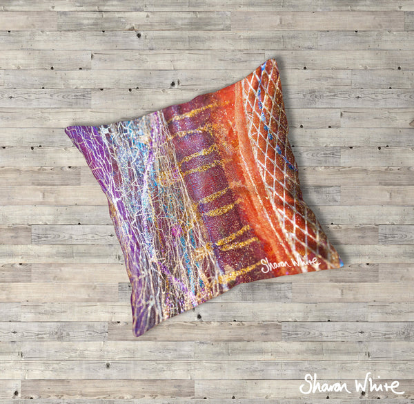 Sharon White Art Renewal Floor Cushions Dynamic Stripe