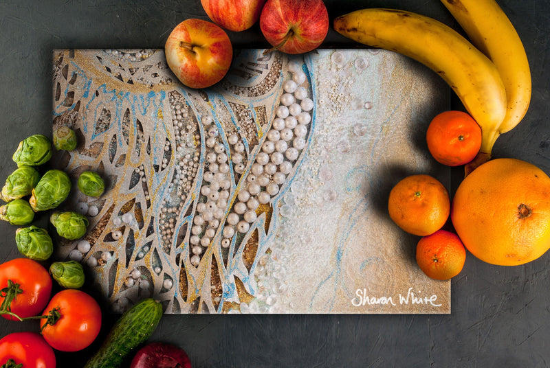 Sharon White Art Chopping Board Ascension Asymmetric Pearl