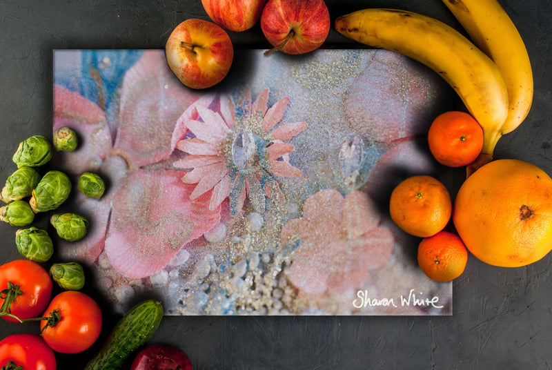 Sharon White Art Chopping Board Lightness of Being Arabian Pink
