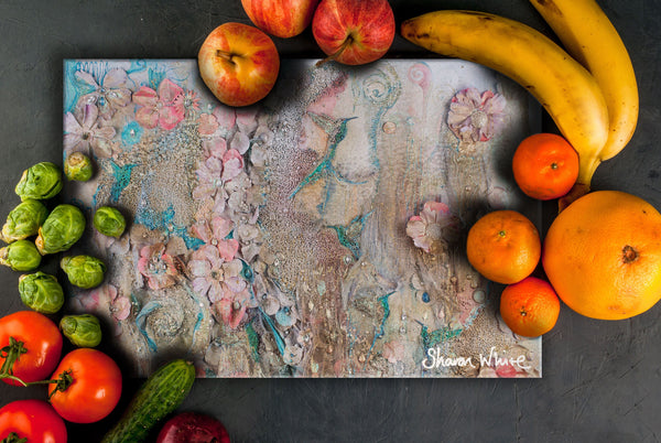 Sharon White Art Chopping Board Lightness of Being Full Lightness