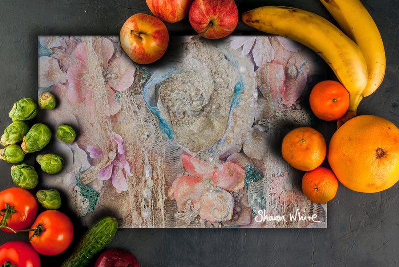 Sharon White Art Chopping Board Lightness of Being Secret Bloom
