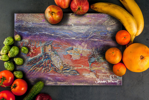 Sharon White Art Chopping Board Renewal Flowers