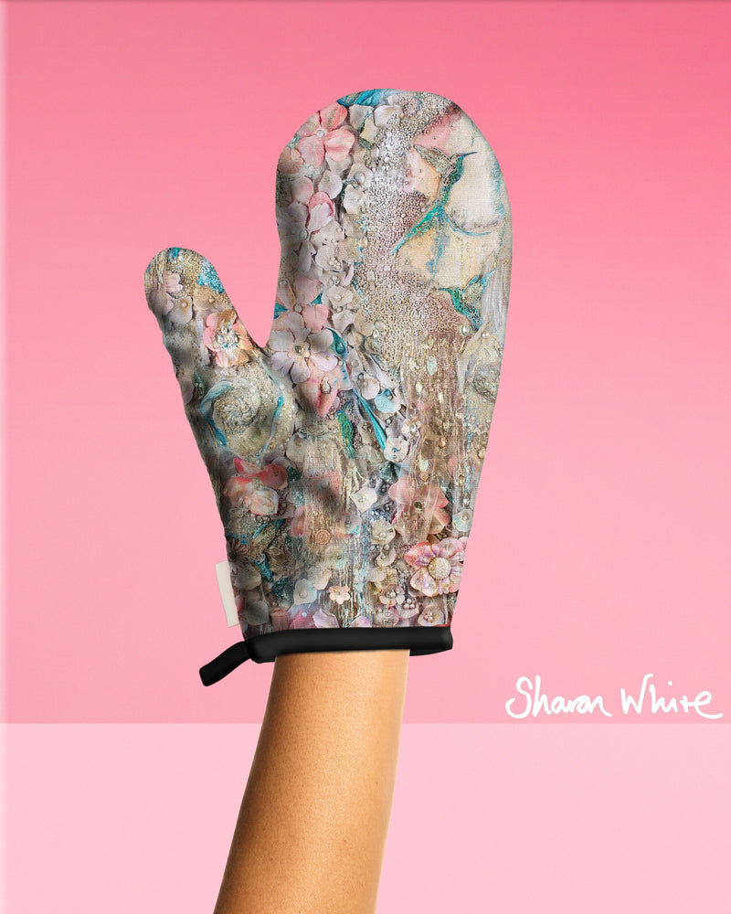 Sharon White Art Oven Glove Lightness of Being Collection Full Lightness