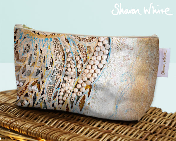 Sharon White Art Wash Bags Ascension Asymmetric Pearl make up