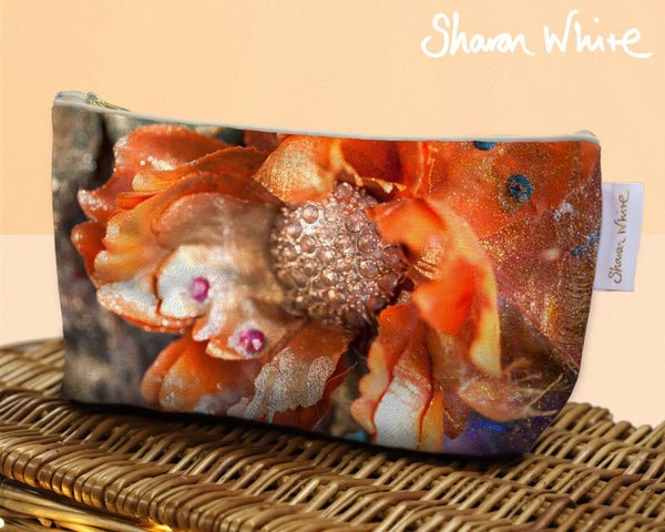 Sharon White Art Wash Bags Renewal Orange small make up bag