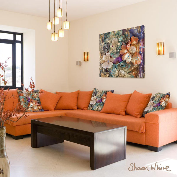 Sharon White Wall Art Canvas Renewal Collection Cluster