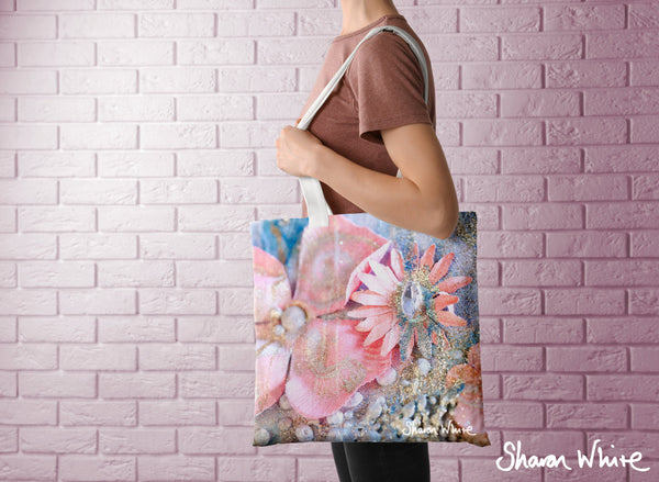 Sharon White Art Tote Bag Collection Lightness of Being Arabian Pink