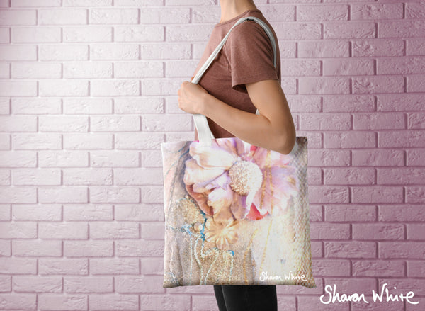 Sharon White Art Tote Bag Collection Lightness of Being Delicate Love