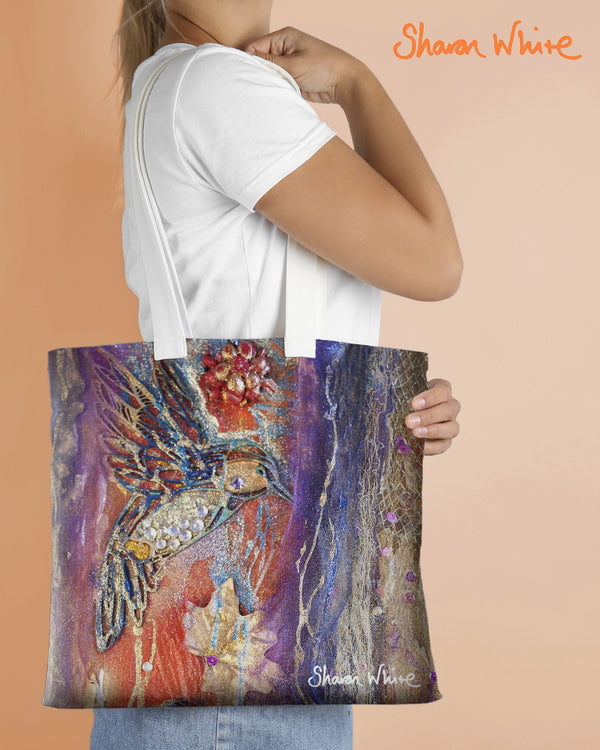 Sharon White Art Tote Bag Collection Renewal Flowers