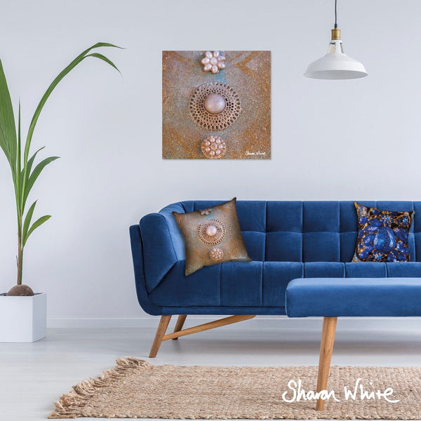 Sharon White Art Canvas Wall Art Print in gold and pearl