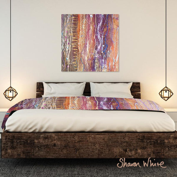Sharon White Wall Art Canvas Renewal Collection Fuzzy