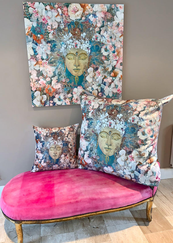 buddah Cushion pillow sharon white art