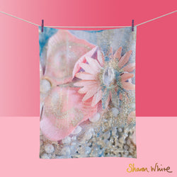 Tea Towels by Sharon White Art Lightness of Being Arabian Pink