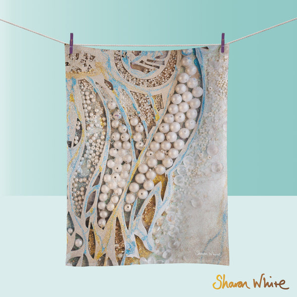 Tea Towels by Sharon White Art Ascension Asymmetric Pearl