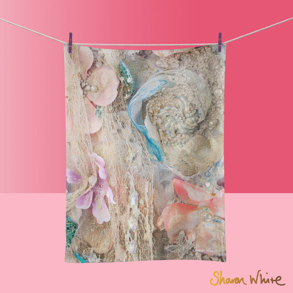 Tea Towels by Sharon White Art Lightness of Being Secret Bloom