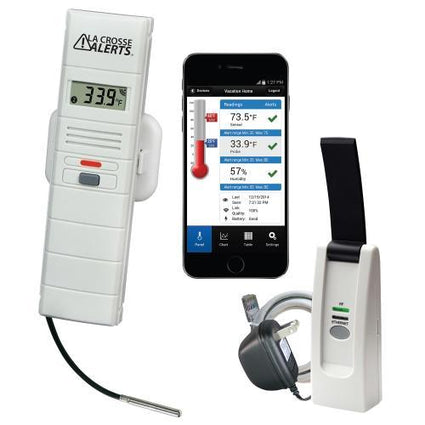 La Crosse Alerts Remote Temperature and Humidity Monitoring w/ 6 ft Detachable Wet Temperature Probe