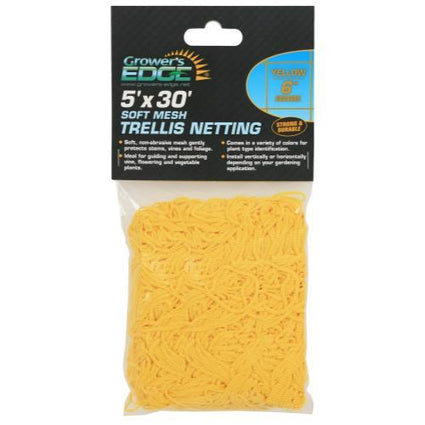 Grower's Edge Soft Mesh Trellis Netting 5 ft x 30 ft w/ 6 in Squares - Yellow