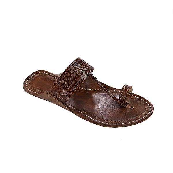 Good looking brown diamond punching kolhapuri chappal for men KRKA-M-292