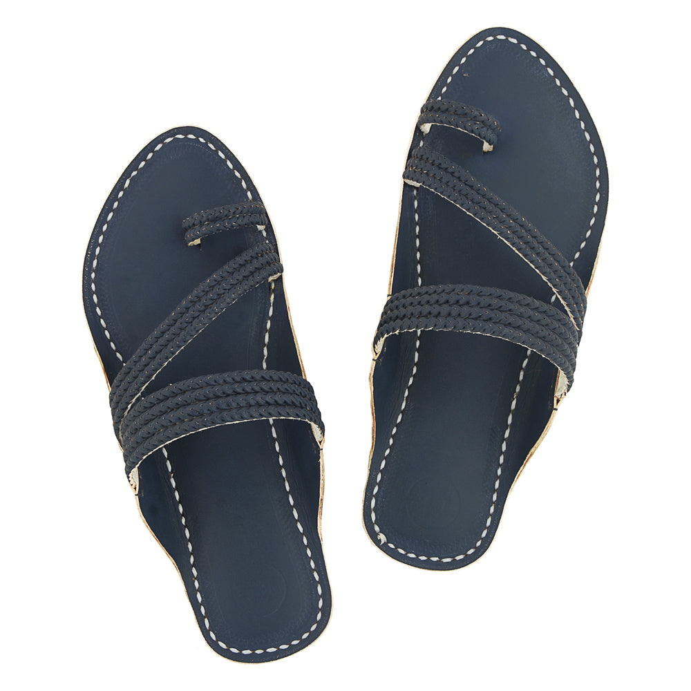 Premium Quality Exclusive Dull Blue Braided Handcrafted Men Kolhapuri Chappal KRKA-P-M-013