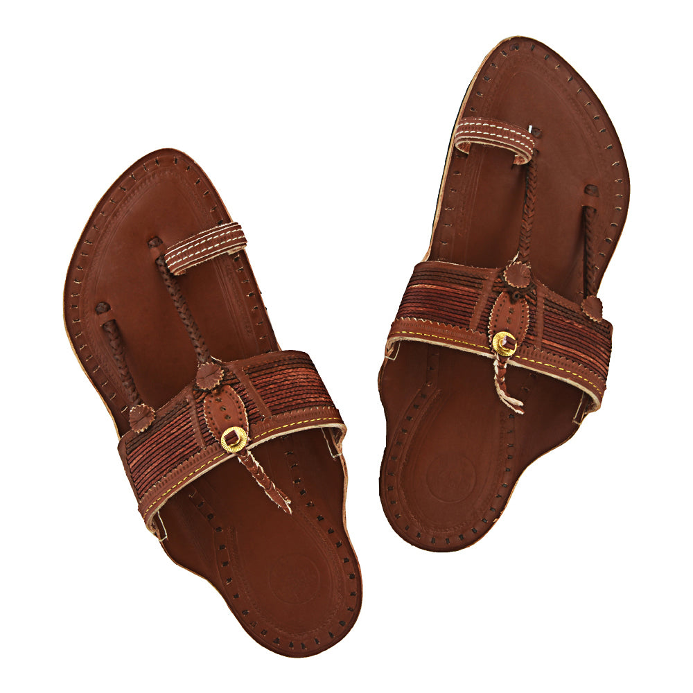 Premium Quality Wonderful Vintage Design Tan Kolhapuri Chappal for Men KRKA-P-M-021