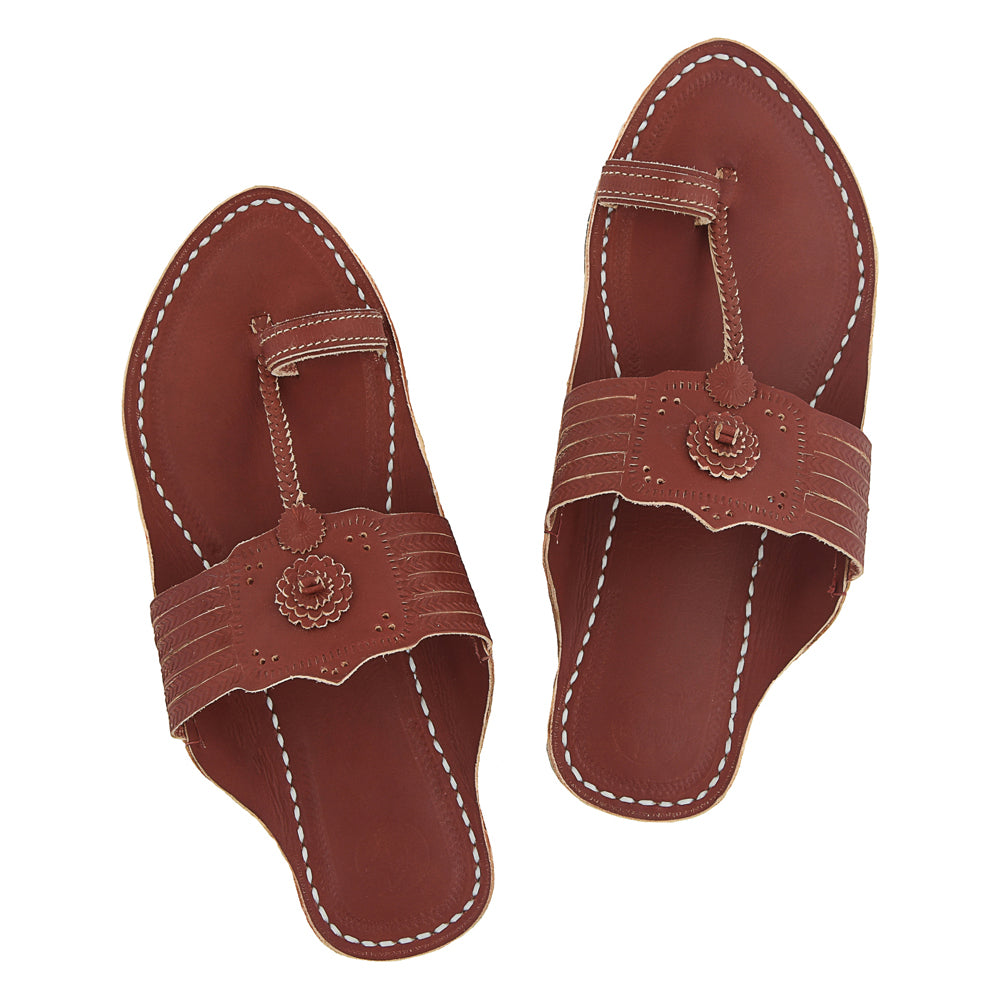 Premium Quality Designers Red Brown Leather Sandal for Men KRKA-P-M-027