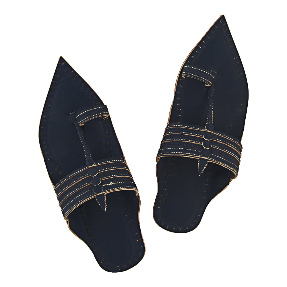 Astonishing Quality Extra Pointed Dark blue Kolhapuri Chappal for Men KRKA-P-M-045