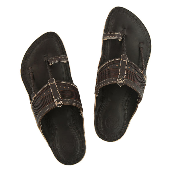 Premium Quality Authentic Traditional Design Dark Brown Kapshi Men Chappal KRKA-P-M-046