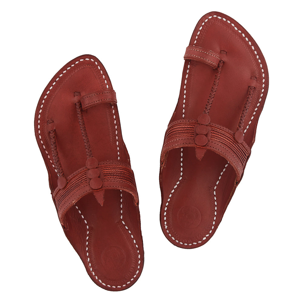 Premium Quality Traditional Fine Braids Style Cherry Red Kapshi Kolhapuri Chappal for Men KRKA-P-M-059