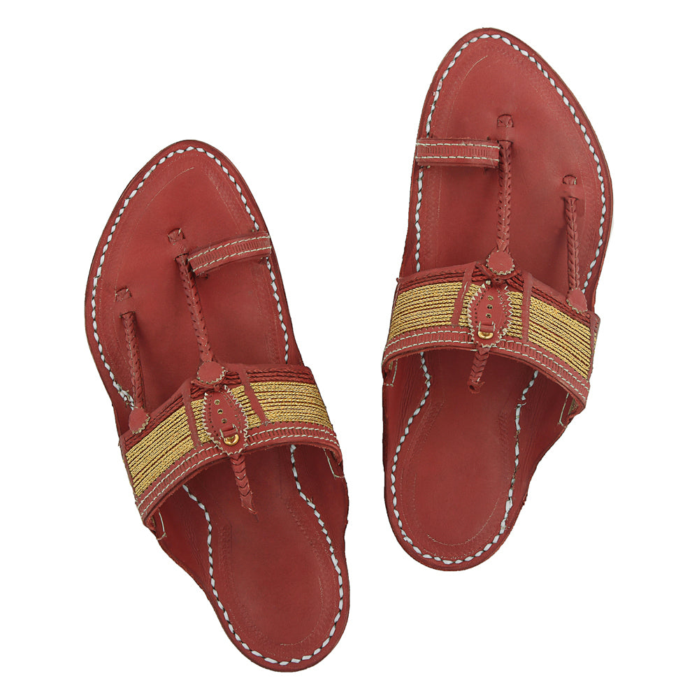 Premium Quality Authentic Traditional Design Cherry Red Kapshi Jari Kolhapuri Chappal for Men KRKA-P-M-063